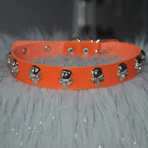 Orange Skull Studded Leather Choker